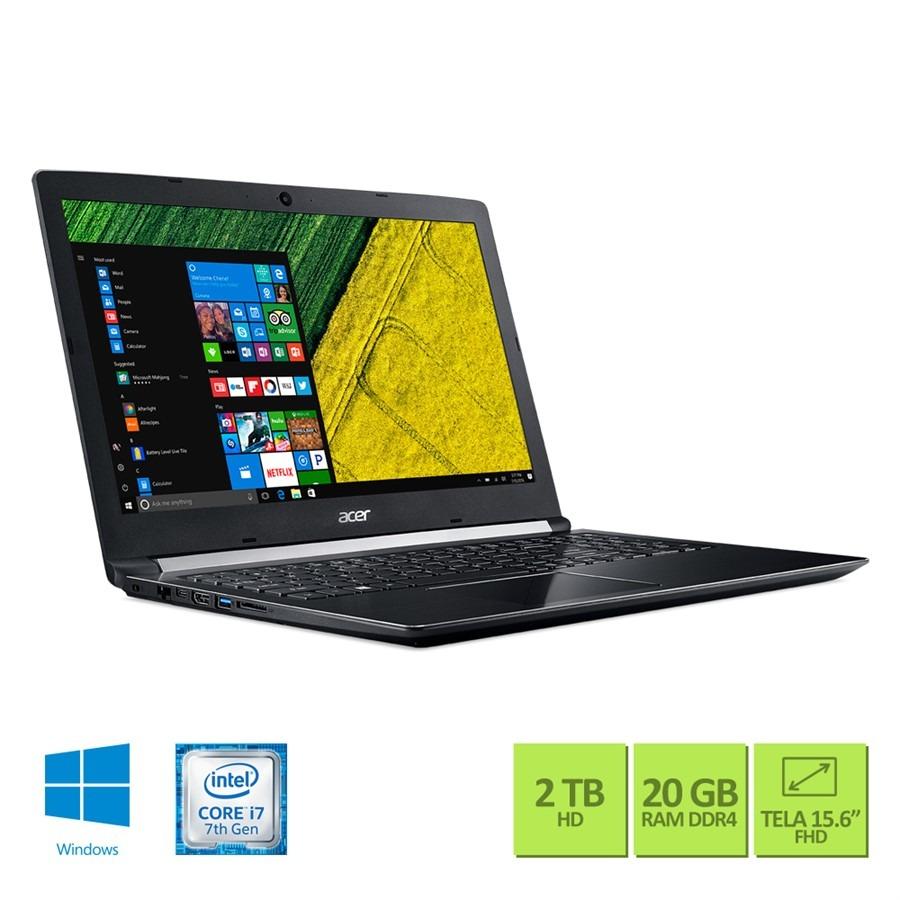 edf65317d Notebook Acer Aspire A515-51g-70pu Ci7 20gb 2tb 940mx Win10 - R ...