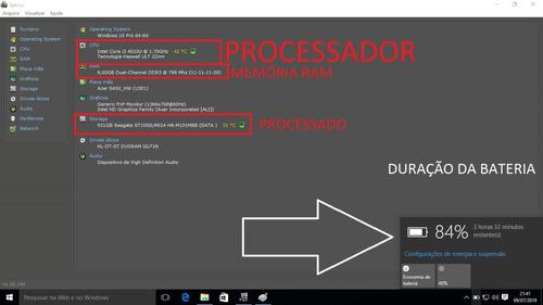 notebook acer .i3 8gb 1000gb hd 15.6' wifi hdmi dvd win 10