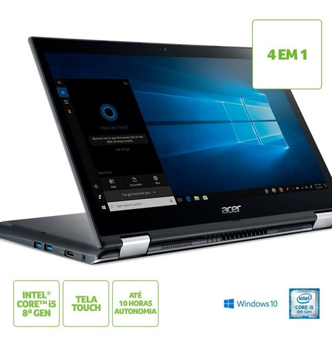 notebook acer spin 3 intel® core i5-8250u 8gb