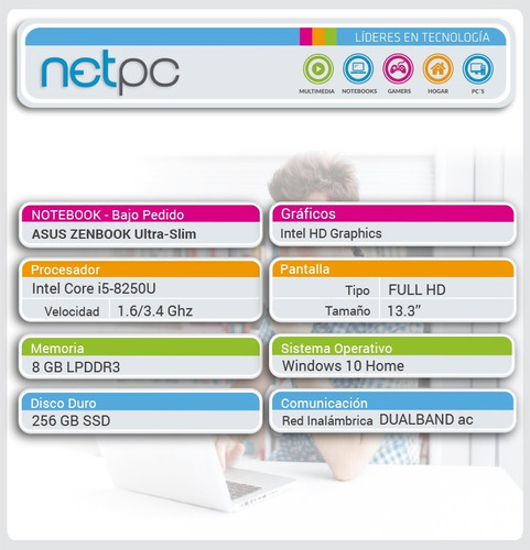 notebook asus nuevo i5 8gb 256ssd 13.3 - bajo pedido - netpc
