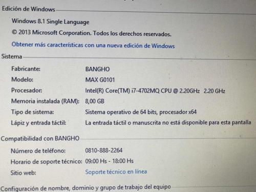 notebook bangho max intel i7. 8gb ram. 1tb impecable