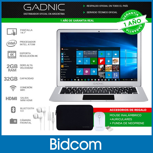 notebook cloudbook gadnic 14 intel windows 10 32gb ssd + funda gratis