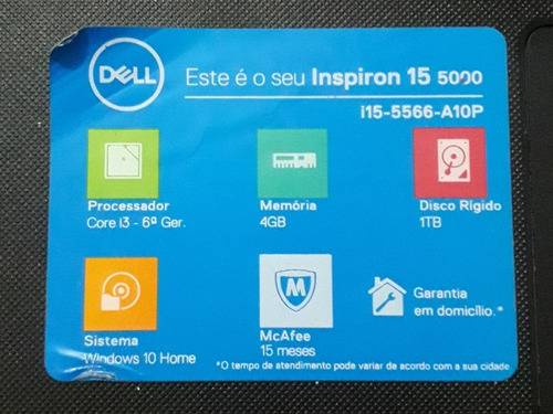 notebook dell i15-5566-a10p