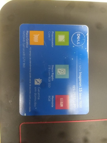 notebook dell i7 insperion 15 serie 7000