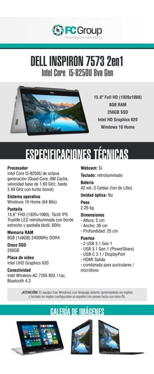 Notebook Dell Inspiron 15 Fhd 7573 2 En 1 I5 8250u 256gb 8gb