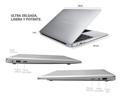 notebook gadnic 14 2gb windows 10 cloudbook funda + mouse