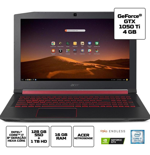 notebook gamer acer an515-75gw ci7 16gb 1tb 128gb 1050ti