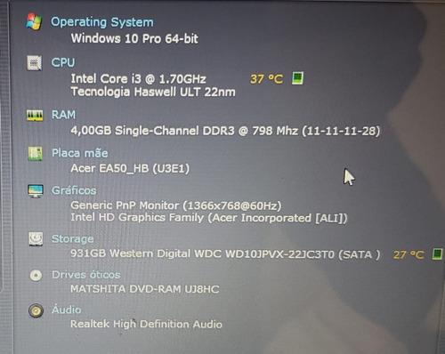 notebook gamer acer aspire e5-571 intel core i3 4ªg. 4gb 1tb