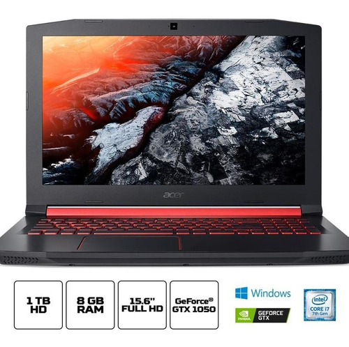 notebook gamer acer aspire nitro an515-51-77fh intel core i7 8gb 1tb hd 15.6  fhd nvidia geforce gtx 1050 4gb windows 10