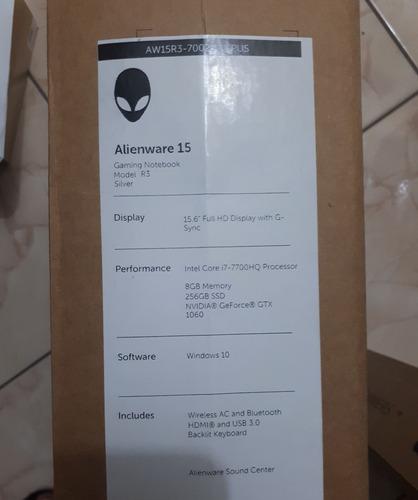 notebook gamer alienware 15.6 i7 gtx1060 gddr5 8gb ssd 256gb
