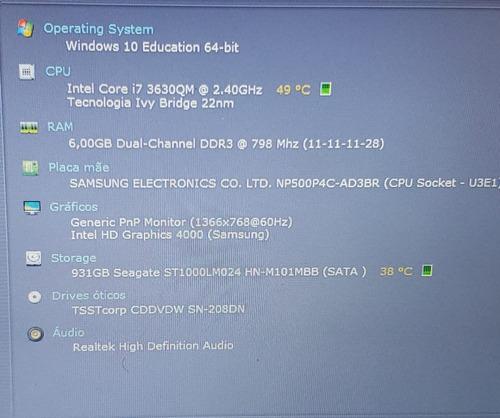 notebook gamer samsung 500p intel core i7 6gb 1tb som jbl 14