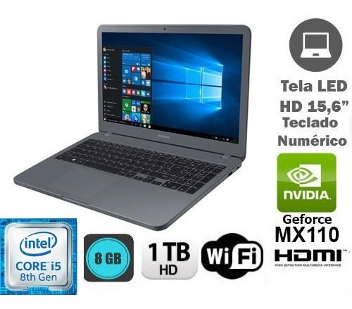 notebook gamer samsung core i5 8 ger 8gb 1tb geforce - novo