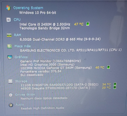 notebook gamer samsung rf511 intel core i5 2ª geração 8gb de ram 120gb ssd + 500gb hdd placa de video geforce gt520m 1gb