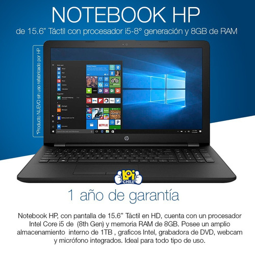 notebook hp core i5 8250u 15,6´ 8gb 1tb win10 1 año gtia loi