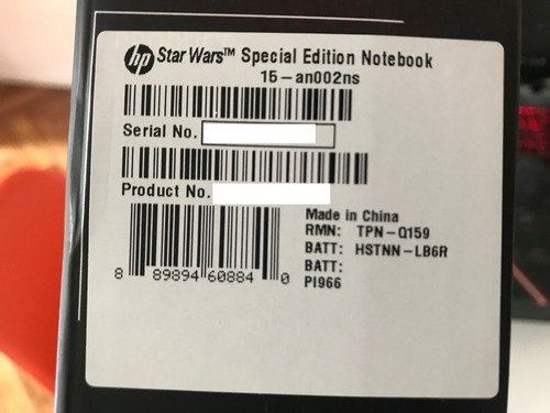notebook hp star wars edition core i5 6gb 15.6 - 1tb