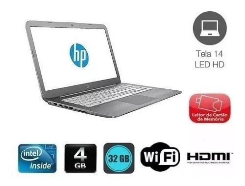 notebook hp stream 14 intel celeron 4gb 32gb +sd 32gb brinde