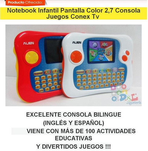 notebook infantíl pantalla color 2,7  consola juegos cone tv
