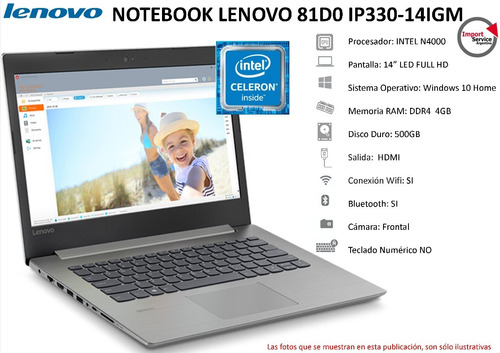notebook lenovo 81d0 ip330-14igm intel n4000 4gb ram 500gb
