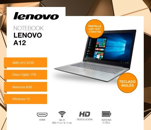 notebook lenovo a12 9720p 8gb 1tb 15.6 windows 10 dvdrw 12ct