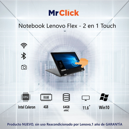 notebook lenovo flex intel celeron tactil 4gb ram 64gb 11.6´
