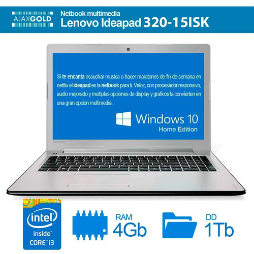 notebook lenovo i3 1tb 15.6 hd 4gb ip 32015 6006u intel core