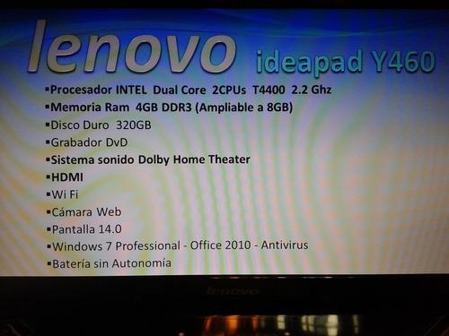 notebook lenovo ideapad y460.  espectacular sonido