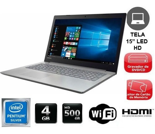 notebook lenovo intel quad core 4gb 500gb dvdrw 15p novo