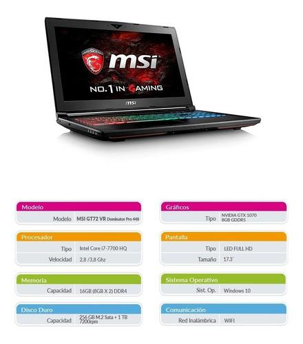 notebook msi gamer nuevo i7 16gb 256 1tb gtx1070 netpc