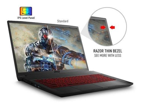 notebook msi gf75 slim i7 9750h 9ªgen hexa core 16gb ram  ssd 512gb nvidia gtx1650 4gb 17,3 pulgadas 2,2kg