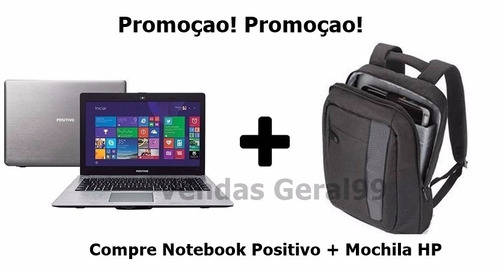 notebook positivo celeron 2gb hd-500gb + mochila hp