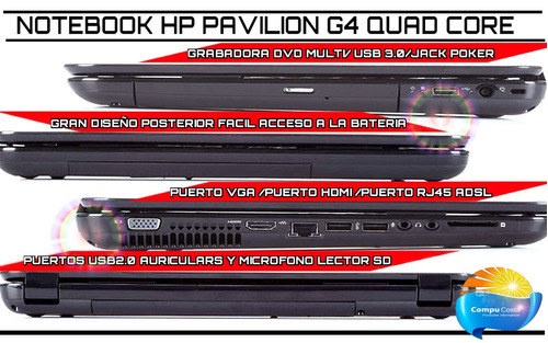 notebook quad core 2.8ghz /4gb /500gb /radeon 7640 hasta 4gb