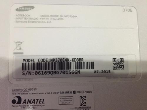 notebook samsung np370e4k kdbbr quebrado (p/retirar peças)