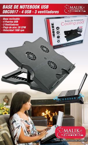 notebook ventilador base ajustable 4 puertos hub usb nuevo