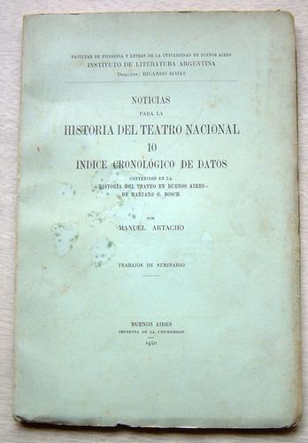 noticias para la historia del teatro nacional, m. artacho