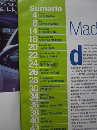 noticias sobre ruedas, nº 8, noviembre 2003, meriva bmw, vw