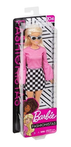 nova barbie fashionistas 104 loira saia quadriculada mattel