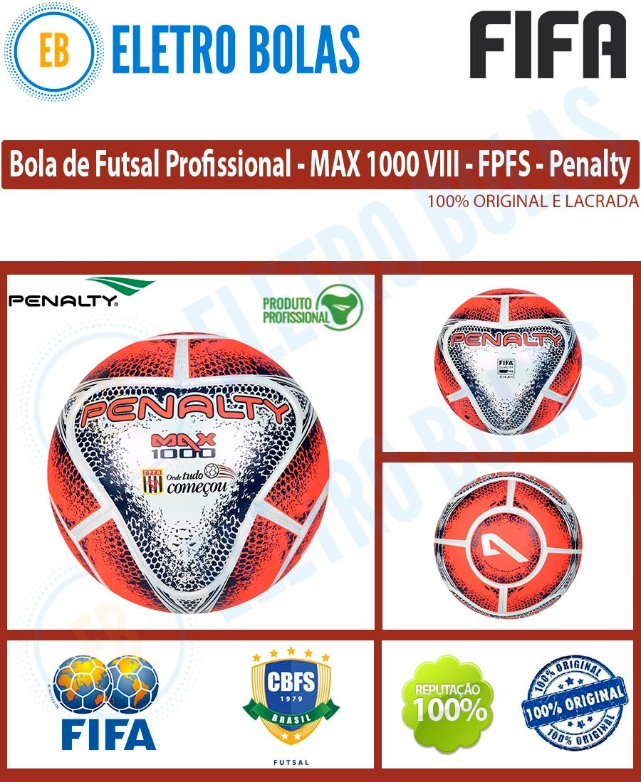 7bd9bb37b nova bola futsal max 1000 viii fpfs pró oficial fifa penalty. Carregando  zoom.