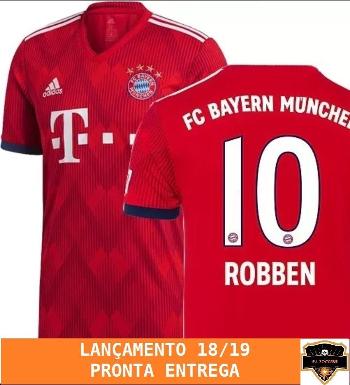 2dd076f45cb Nova Camisa Bayern De Munique 2018 2019 Oficial - Robben - - R  120 ...