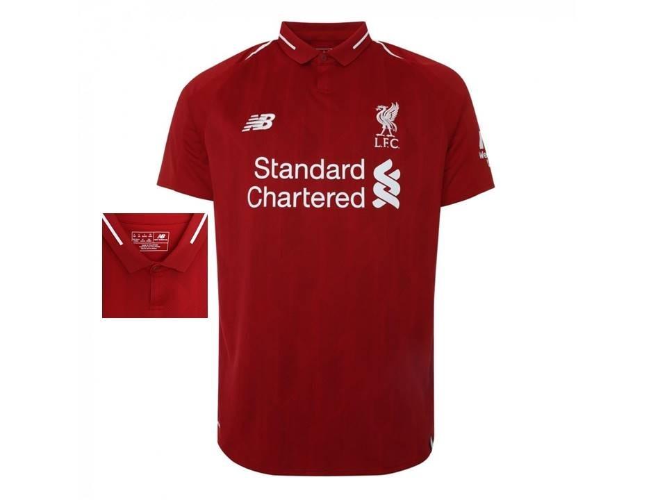c8138e3300 nova camisa liverpool vermelha new balance 18 19 com gola. Carregando zoom.