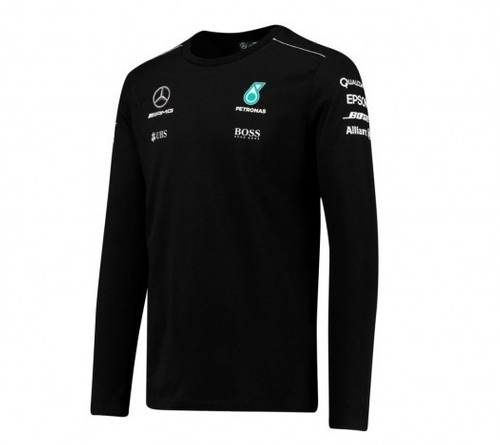 nova camiseta mercedes petronas f1 manga longa 2017 preta r 285 99 em mercado livre. Black Bedroom Furniture Sets. Home Design Ideas