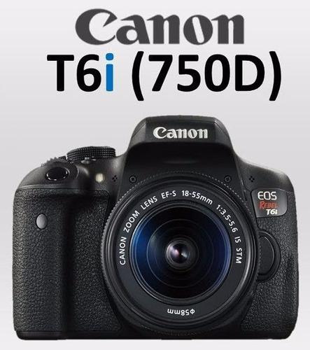 nova câmera canon t6i 750d +18-55 is stm c/ nf-e +garantia