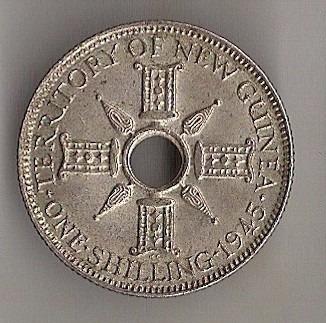 nova guiné - 1 shilling de 1945 - prata - fc!