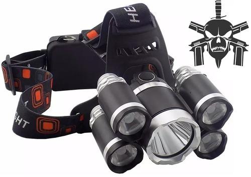 nova lanterna farol de cabeça profissional 5 leds t6 + bat
