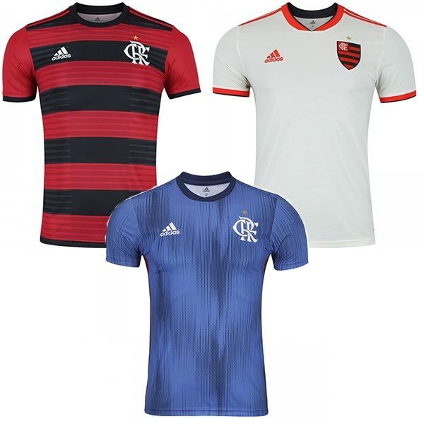 b33735b5e0 Novas Camisas Flamengo 2018 Kit Com 3 - Frete Gratis - R  149