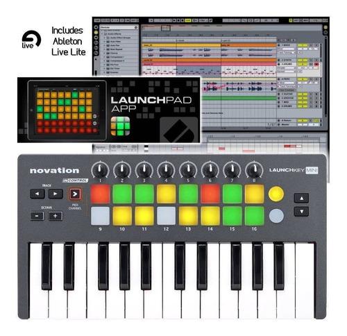 novation launchkey mini teclado y pads para usb y ipad apps