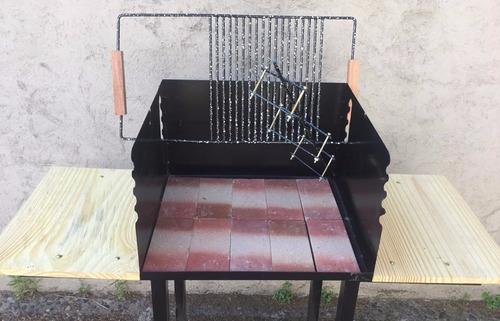 novedad! parrilla + asador criollo + spiedo motor + plancha