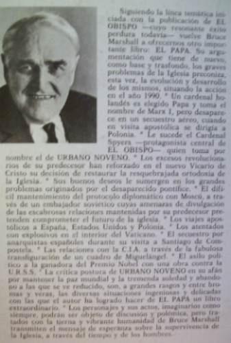 novela: el papa bruce marshall ed: aura. españa