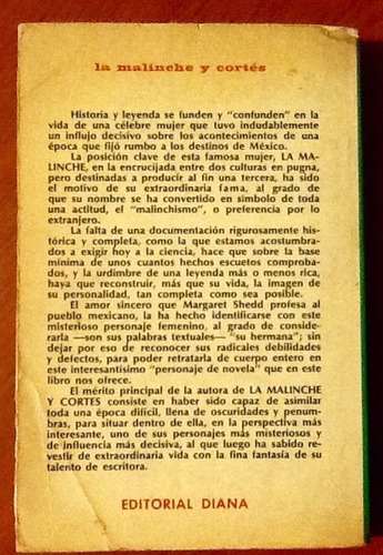 novela la malinche y cortés margaret shedd 1a. edición.