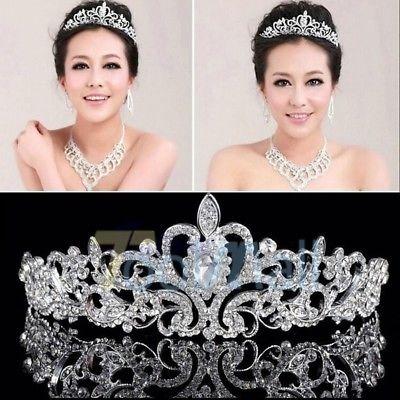 78d7d4a66 Novia Princesa Austriaca Cristal Tiara Boda Corona Velo Pelo ...
