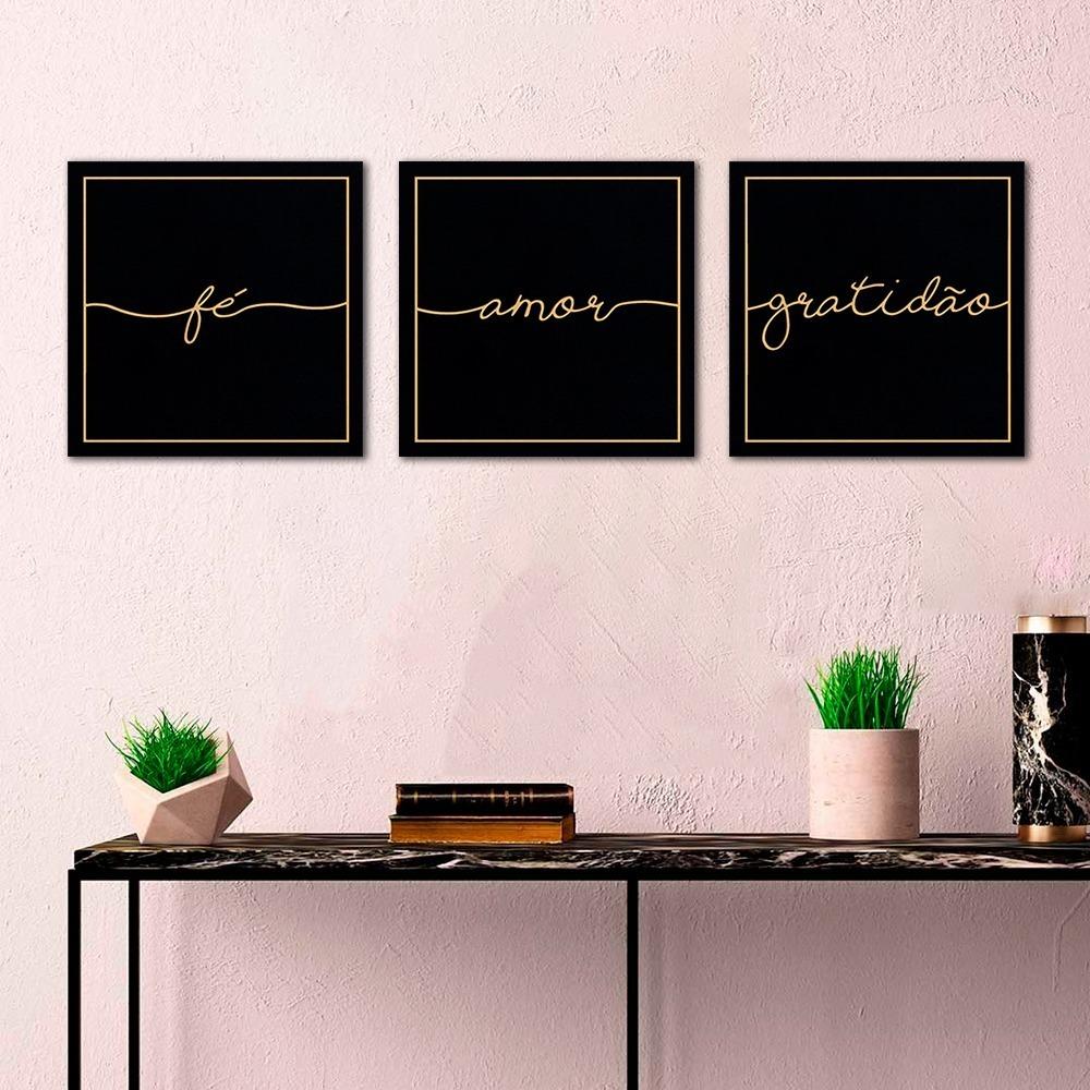 Conjunto De Quadros Decorativos Quarto Sala Moderno Amar